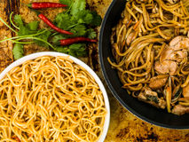 Chicken Chow Mein With Egg Noodles Stock Images
