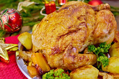 Chicken Christmas with toys on board Royalty Free Stock Photos
