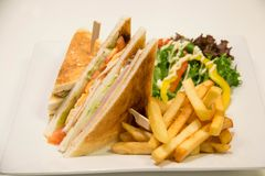 Chicken club sandwich with french fries. A Chicken club sandwich with french fries royalty free stock image