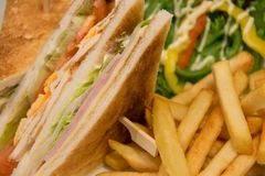 Chicken club sandwich with french fries. A Chicken club sandwich with french fries stock photo