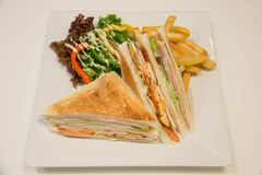 Chicken club sandwich with french fries. A Chicken club sandwich with french fries royalty free stock images