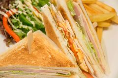 Chicken club sandwich with french fries. A Chicken club sandwich with french fries royalty free stock photo