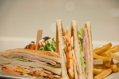 Chicken club sandwich with french fries. A Chicken club sandwich with french fries stock photography