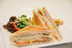 Chicken club sandwich with french fries. A Chicken club sandwich with french fries royalty free stock photography