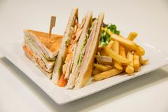 Chicken club sandwich with french fries. A Chicken club sandwich with french fries stock images