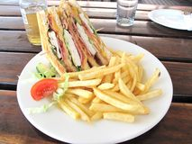 Chicken Club Sandwich with Potato Fries Royalty Free Stock Image