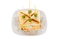 Chicken club sandwich with vegetables. Special sandwiches with grilled chicken meat and olives royalty free stock photos