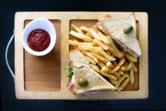 Chicken club sandwich on a white plate with spicy french fries. Club Sandwich with Cheese, PIckled Cucmber, Tomato and Smoked Meat. Garnished with French Fries stock image
