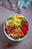 Chicken Cobb Salad. Chicken bacon avocado strawberry and sweet corn salad - healthy food. Chicken Cobb Salad. Chicken bacon avocado strawberry and sweet corn royalty free stock photography