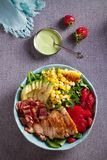 Chicken Cobb Salad. Chicken bacon avocado strawberry and sweet corn salad - healthy food. Chicken Cobb Salad. Chicken bacon avocado strawberry and sweet corn stock photography