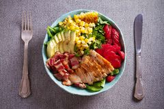 Chicken Cobb Salad. Chicken bacon avocado strawberry and sweet corn salad - healthy food. Chicken Cobb Salad. Chicken bacon avocado strawberry and sweet corn royalty free stock photo
