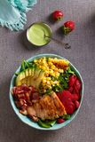 Chicken Cobb Salad. Chicken bacon avocado and sweet corn salad. View from above, top studio shot royalty free stock images