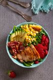 Chicken Cobb Salad. Chicken bacon avocado and sweet corn salad. View from above, top studio shot royalty free stock photos