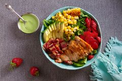 Chicken Cobb Salad. Chicken bacon avocado and sweet corn salad. View from above, top studio shot stock photos