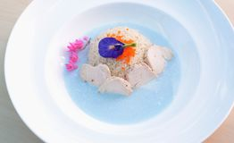 Chicken coconut milk with butterfly pea soup. stock photography