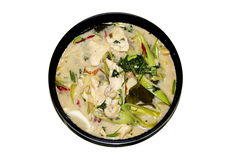 chicken coconut soup and herb in Thai food Stock Image