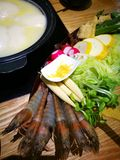 Chicken collagen soup base hot pot Stock Photo