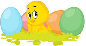 Chicken and colorful egg - vector easter design Royalty Free Stock Photo