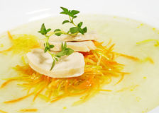 Chicken Consomme. With Julienne Vegetable Served with Green Stock Photos