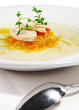 Chicken Consomme Soup. With Julienne Vegetable and Herb Royalty Free Stock Images