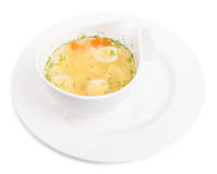 Chicken consomme soup with homemade noodles. Royalty Free Stock Images