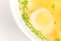 Chicken consomme soup with homemade noodles. Royalty Free Stock Photos