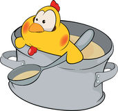 Chicken the cook cartoon Stock Images