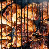 Chicken cooked on fire Royalty Free Stock Image