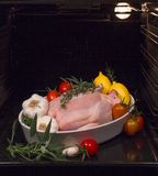 Chicken cooked in the oven Stock Photography