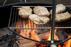 Chicken cooking over open fire. Close up of pieces of chicken on grill cooking over open fire royalty free stock photography