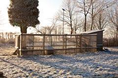 Chicken coop in winter. Exterior of agricultural chicken coop in winter stock images