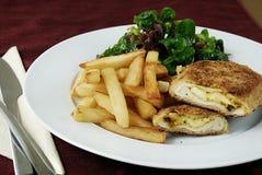 Chicken cordon bleu stock photos