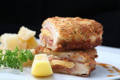 Chicken cordon bleu. On black background Stock Images