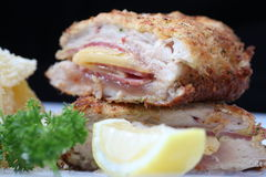 Chicken cordon bleu. On black background Stock Photos