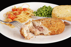 Chicken Cordon Bleu Dinner Stock Photography