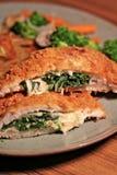 Chicken Cordon Bleu. With vegetable menu Stock Images