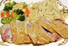 Chicken Cordon Blue with Sides Stock Images