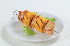 Chicken and corn skewer Royalty Free Stock Images