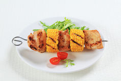 Chicken and corn skewer Stock Photography