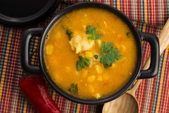 Chicken and corn soup. Close up Stock Photography