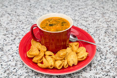 Chicken and Corn Soup in Red Mug Stock Photo