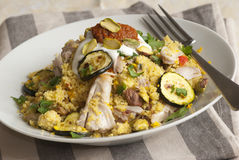Chicken with couscous Stock Photo