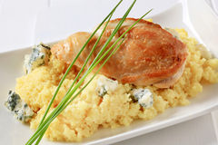 Chicken with couscous and blue cheese Royalty Free Stock Photos
