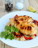 Chicken with couscous and tomatoes Royalty Free Stock Images