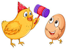 Chicken cracking egg with hammer. Illustration Stock Photography