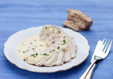 Chicken with cream sauce Stock Photos