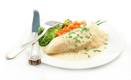 Chicken in Cream Sauce with Vegetable on White Royalty Free Stock Photo