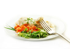 Chicken in Cream Sauce with Vegetables on White stock photography