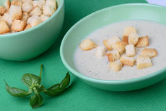 Chicken cream soup with bread crumbs Stock Image