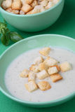 Chicken cream soup with bread crumbs Stock Photos